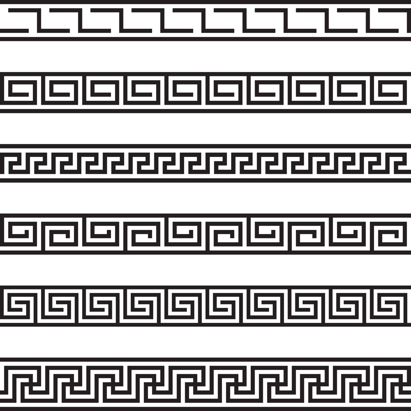 Set of six illustrated decorative borders made of geometrical black elements