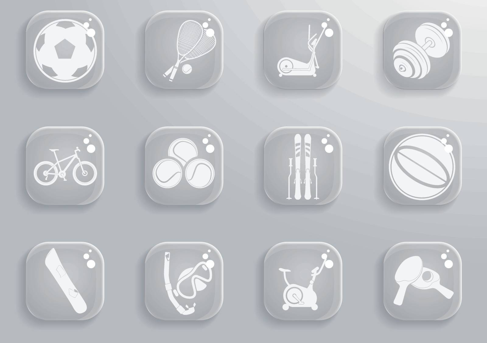 Sport equipment  simply symbols for web and user interface