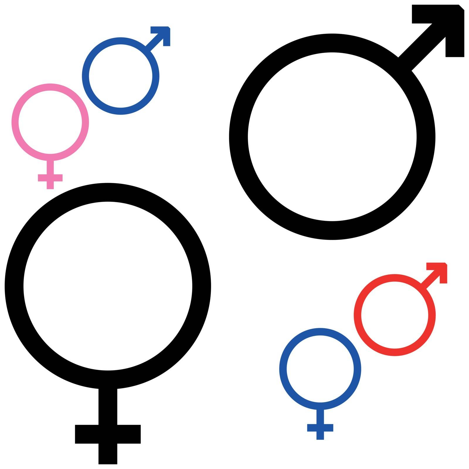 Symbol of gender, symbol Mars and Venus it is set.