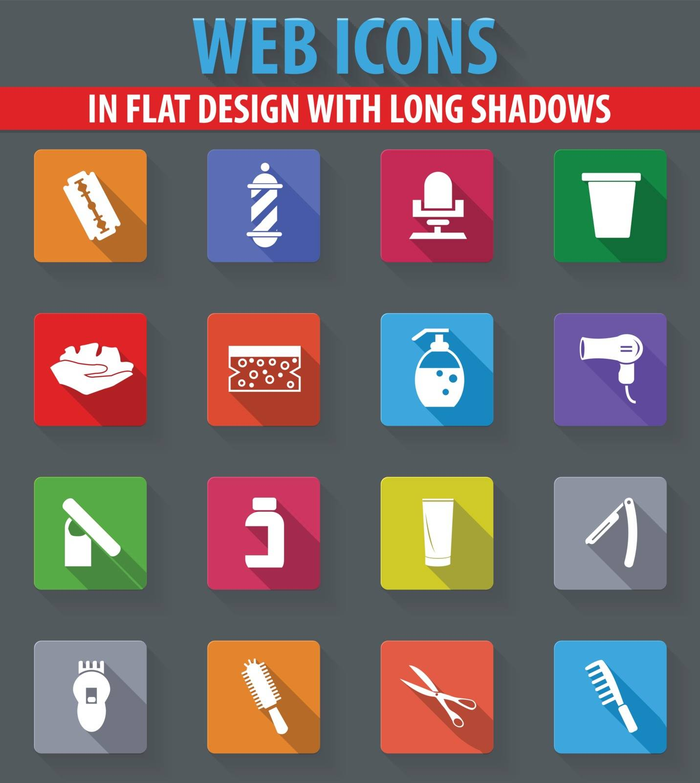 Set of hairdressing web icons in flat design with long shadows