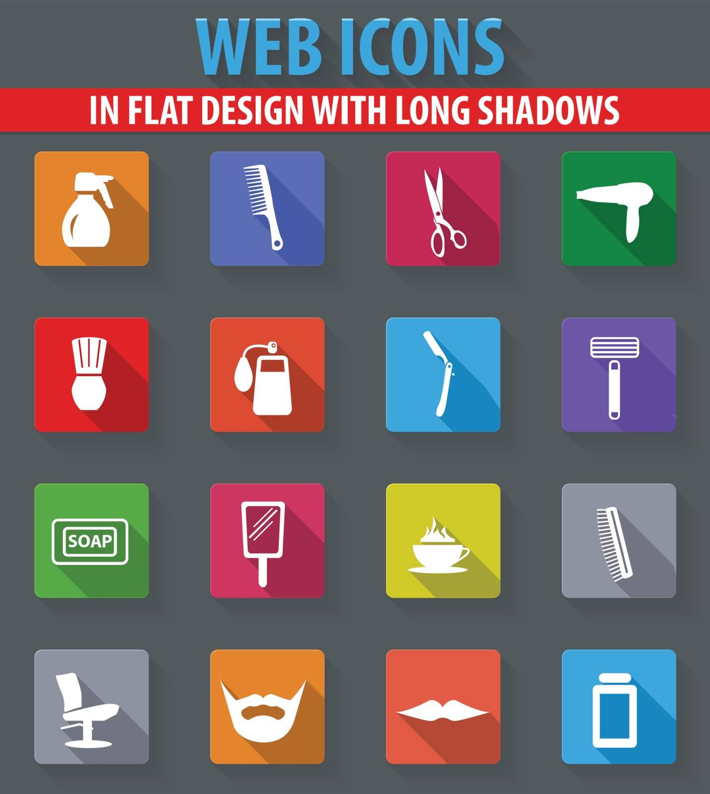 It is a set of barbershop web icons in flat design with long shadows