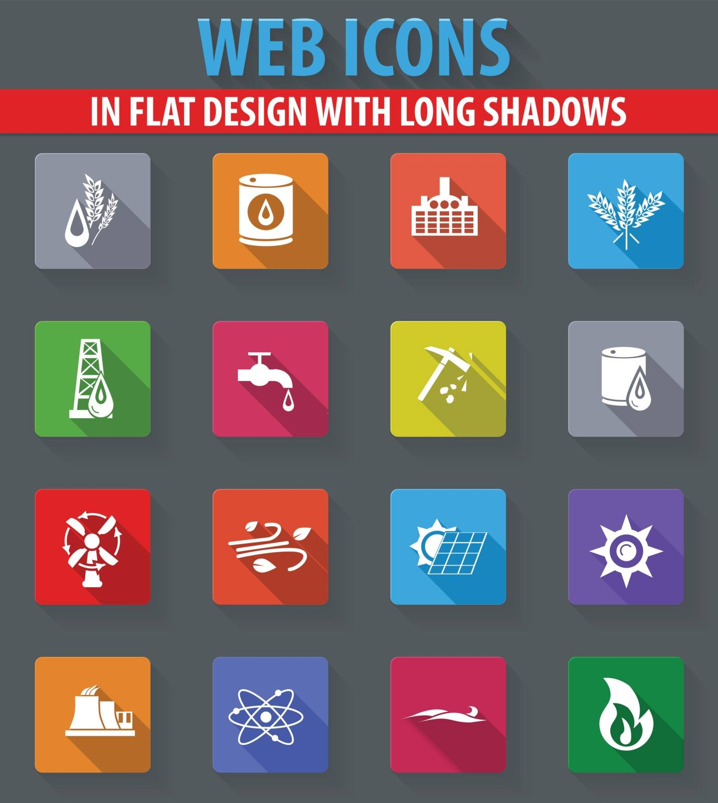 Fuel web icons in flat design with long shadows