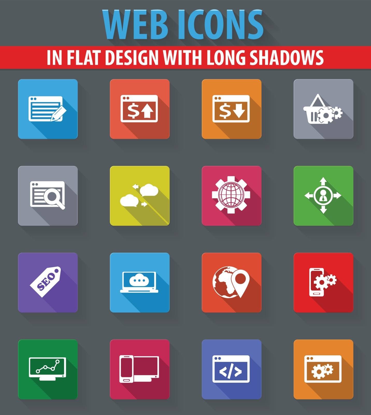 Set of SEO and Development web icons in flat design with long shadows