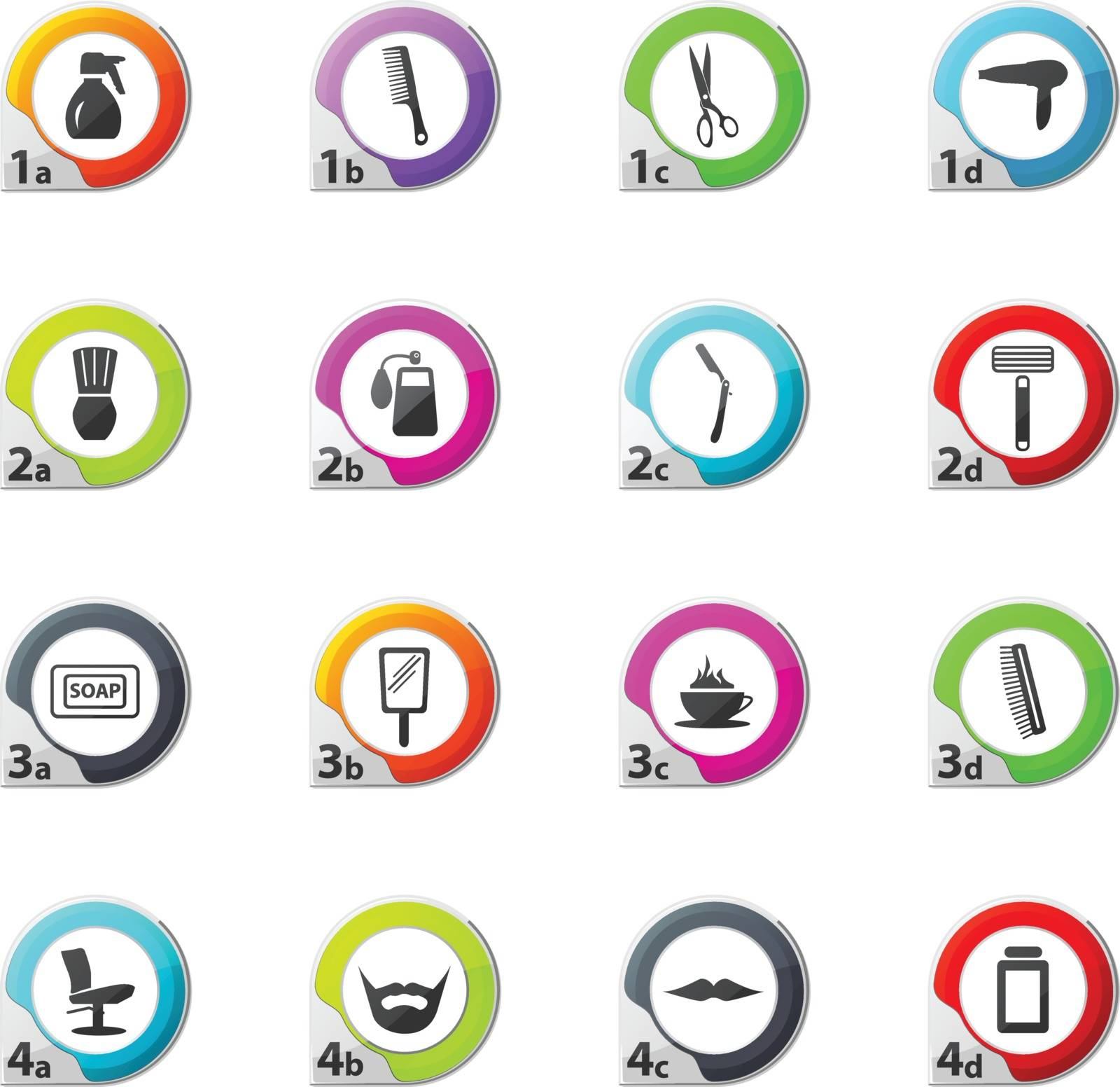 It is a set of barbershop web icons for user interface design