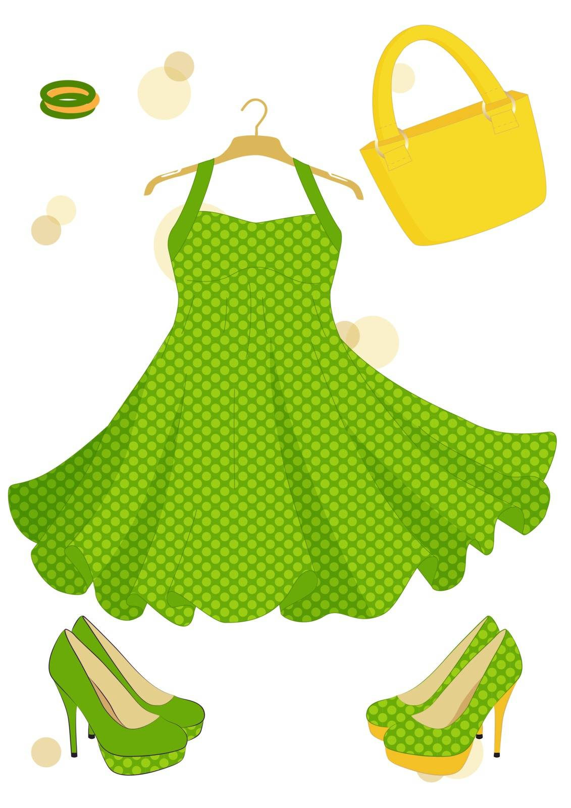 beautiful dress isolated on the white background