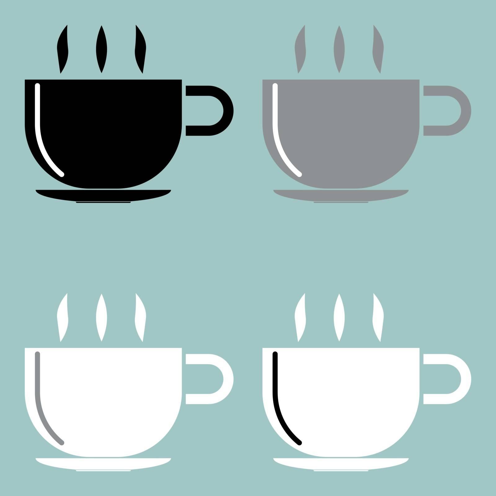 Cup black grey black icon set.