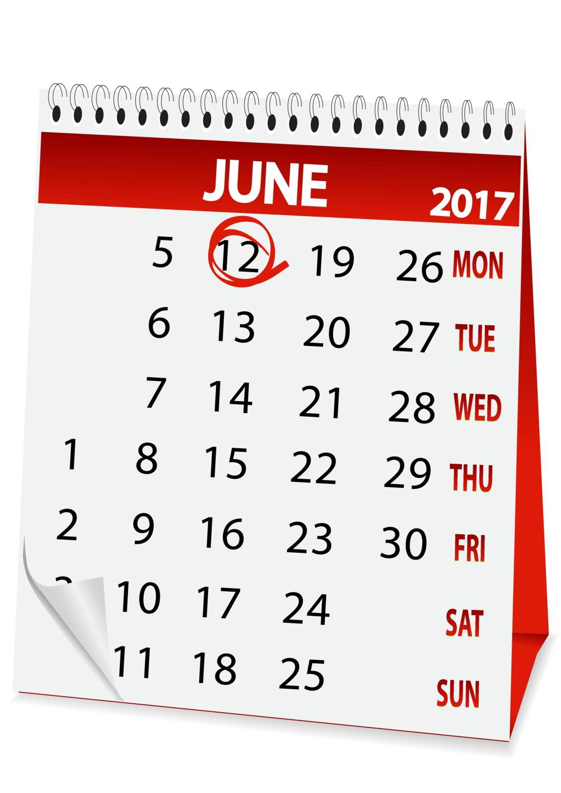 icon in the form of a calendar for June 12, Russia day