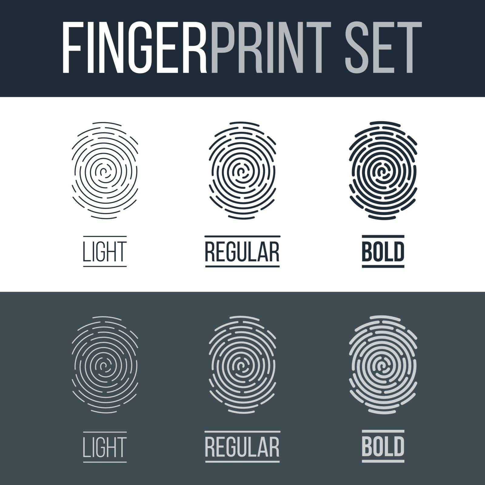 Set of Fingerprints for Identity Person Security ID on Dark and White Background
