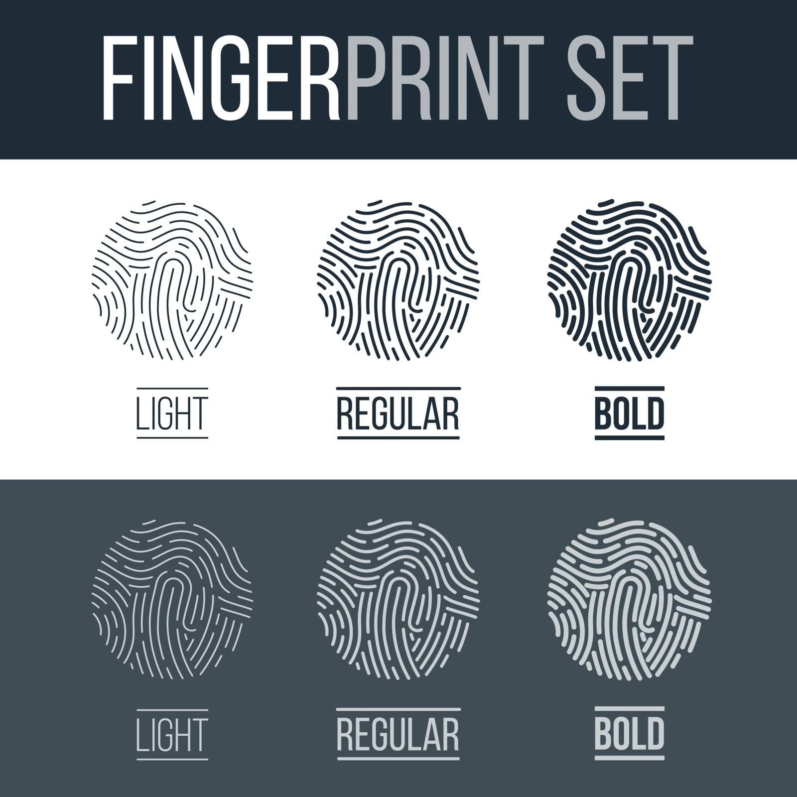 Biometric Fingerprints Set Print for Security ID on Dark and White Background