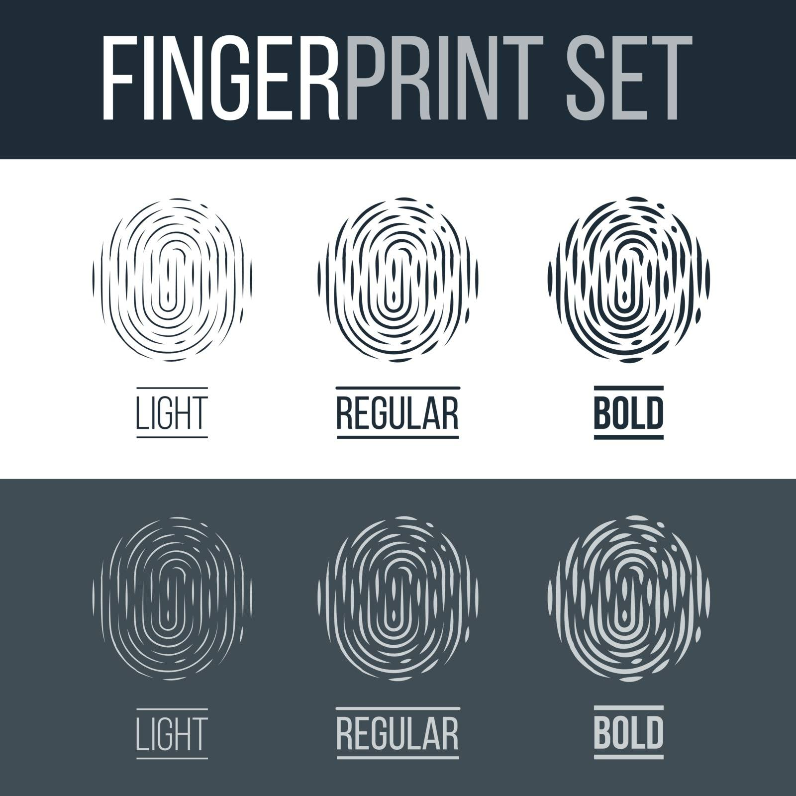 Abstract Fingerprint Icons Set, Future Identification Authorization System on Dark and White Background for Design