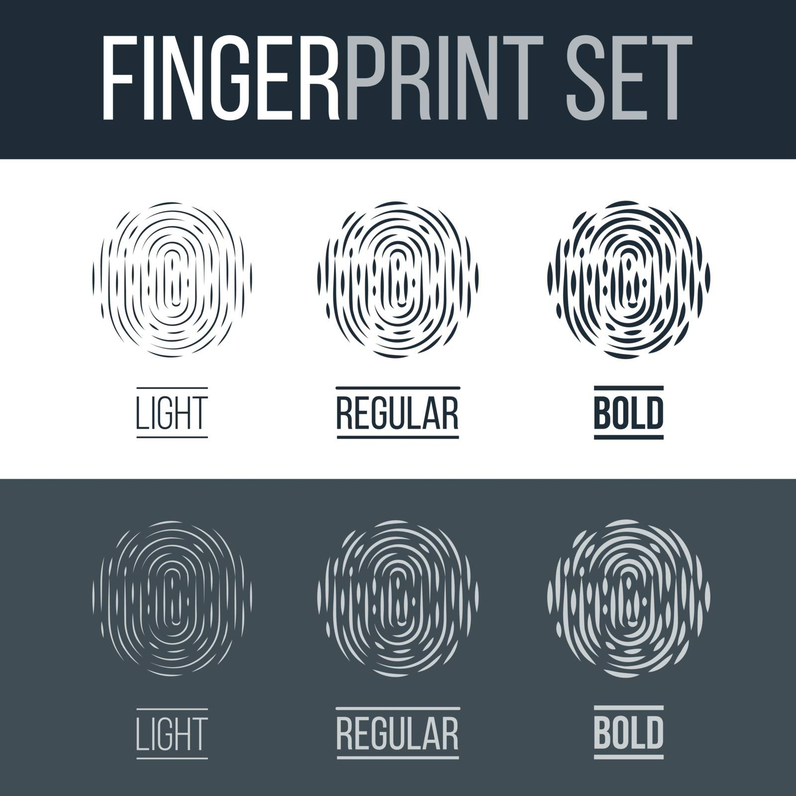Abstract Biometric Fingerprint Icons Set, Sci-Fi Future Identification Authorization System on Dark and White Background