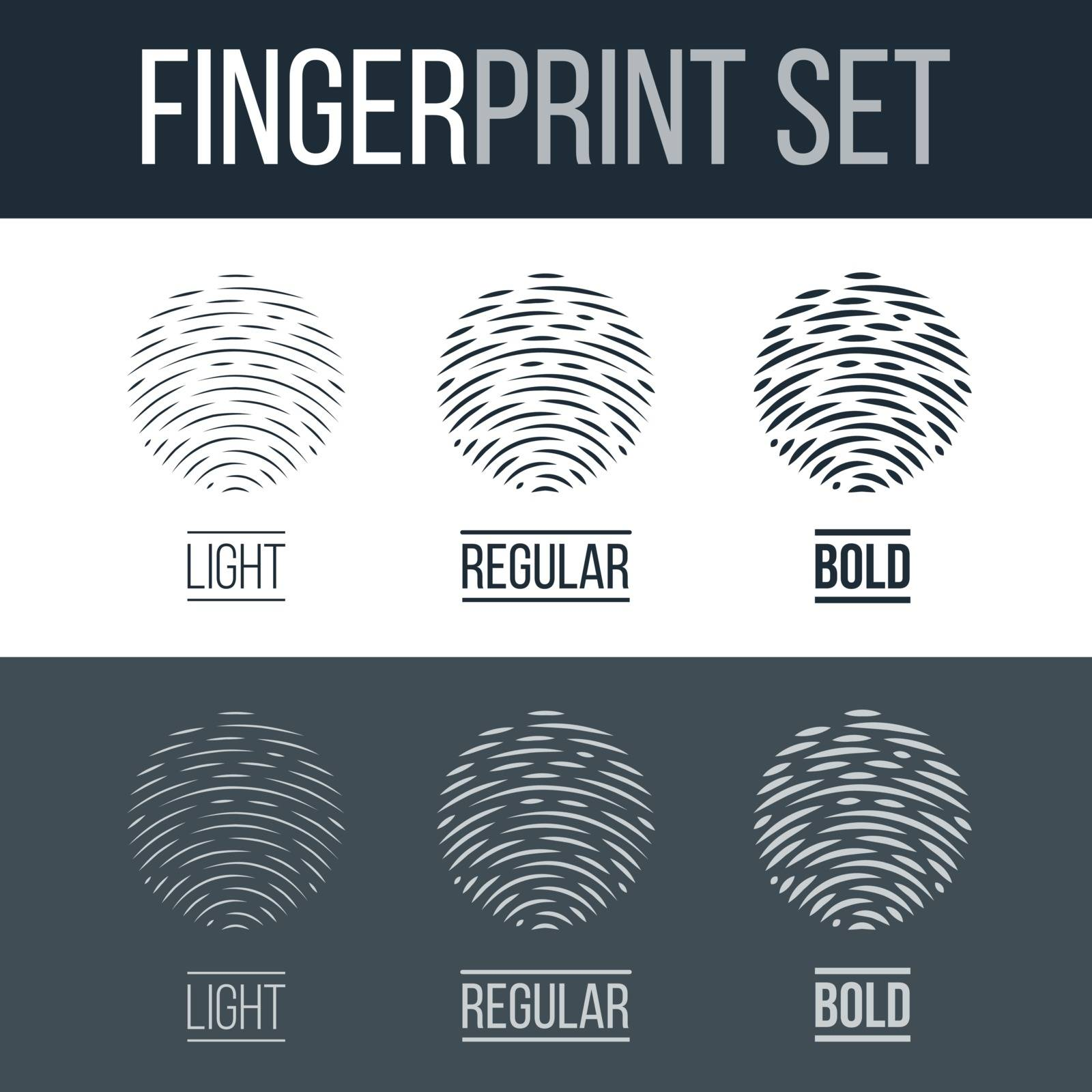 Abstract Fingerprint Icons Set, Sci-Fi Future Identification Authorization System on Dark and White Background for Design