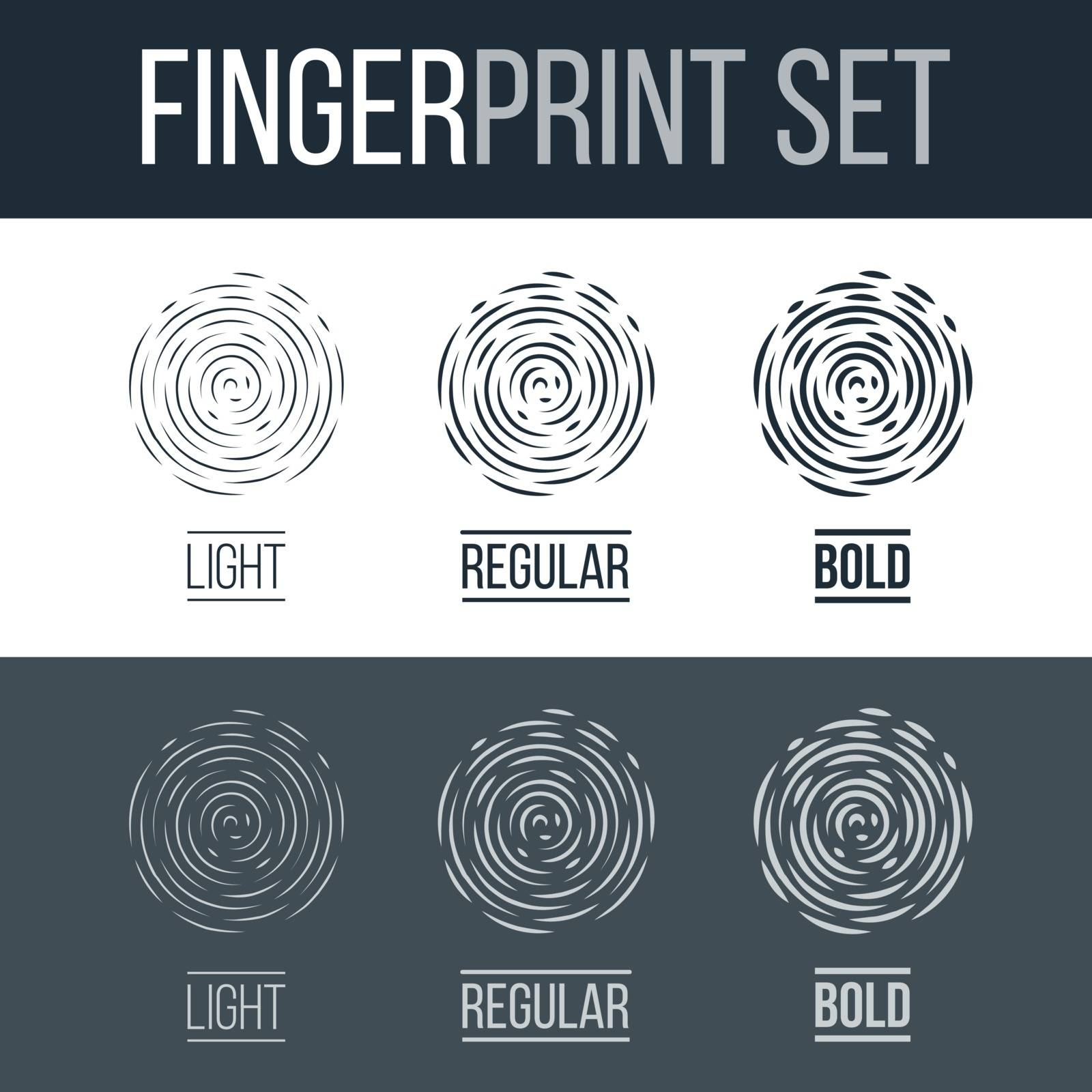 Abstract Fingerprints Set Print for Identification Authorization System on Dark and White Background