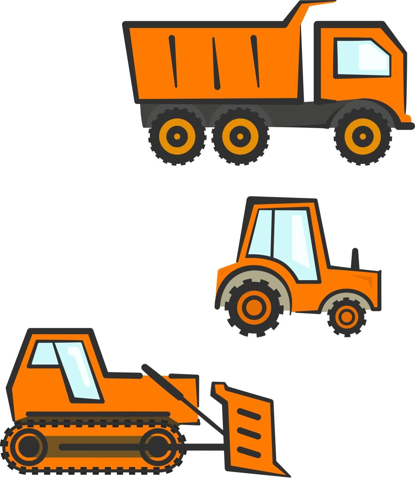 Flat orange industrial transport set. Dozer, tractor and dumper