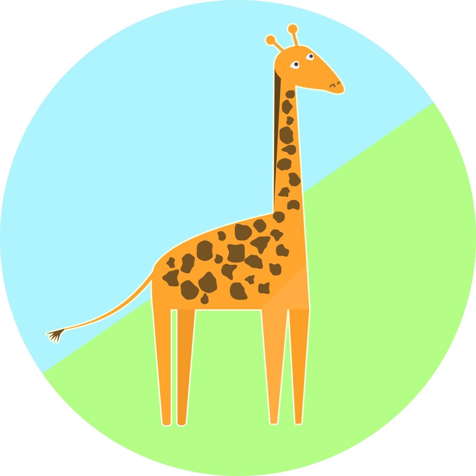 Cartoon colorful giraffe icon, nice simple animal icon, high orange giraffe with brown spots