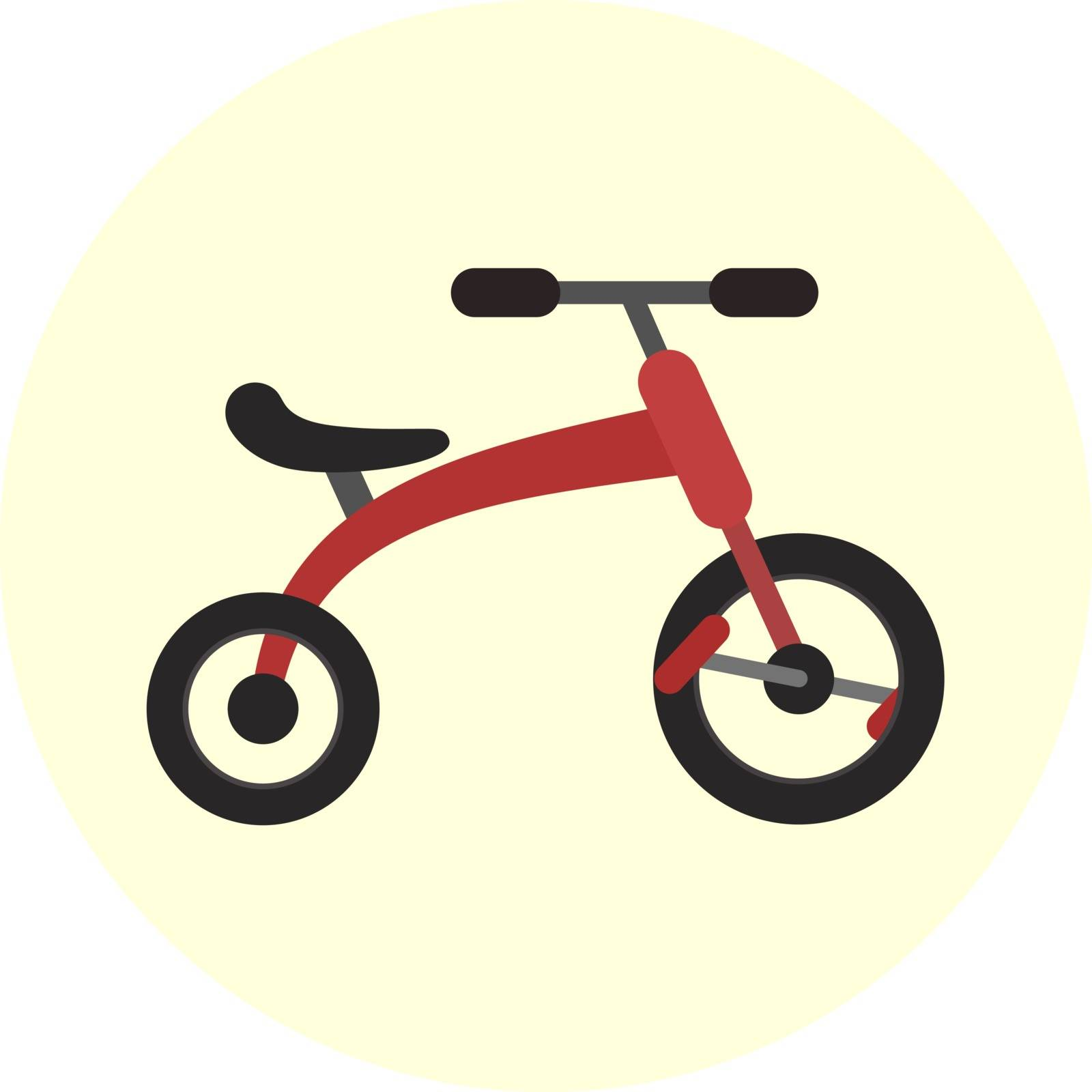 Flat red kids tricycle icon, vector color childrens trensport symbol