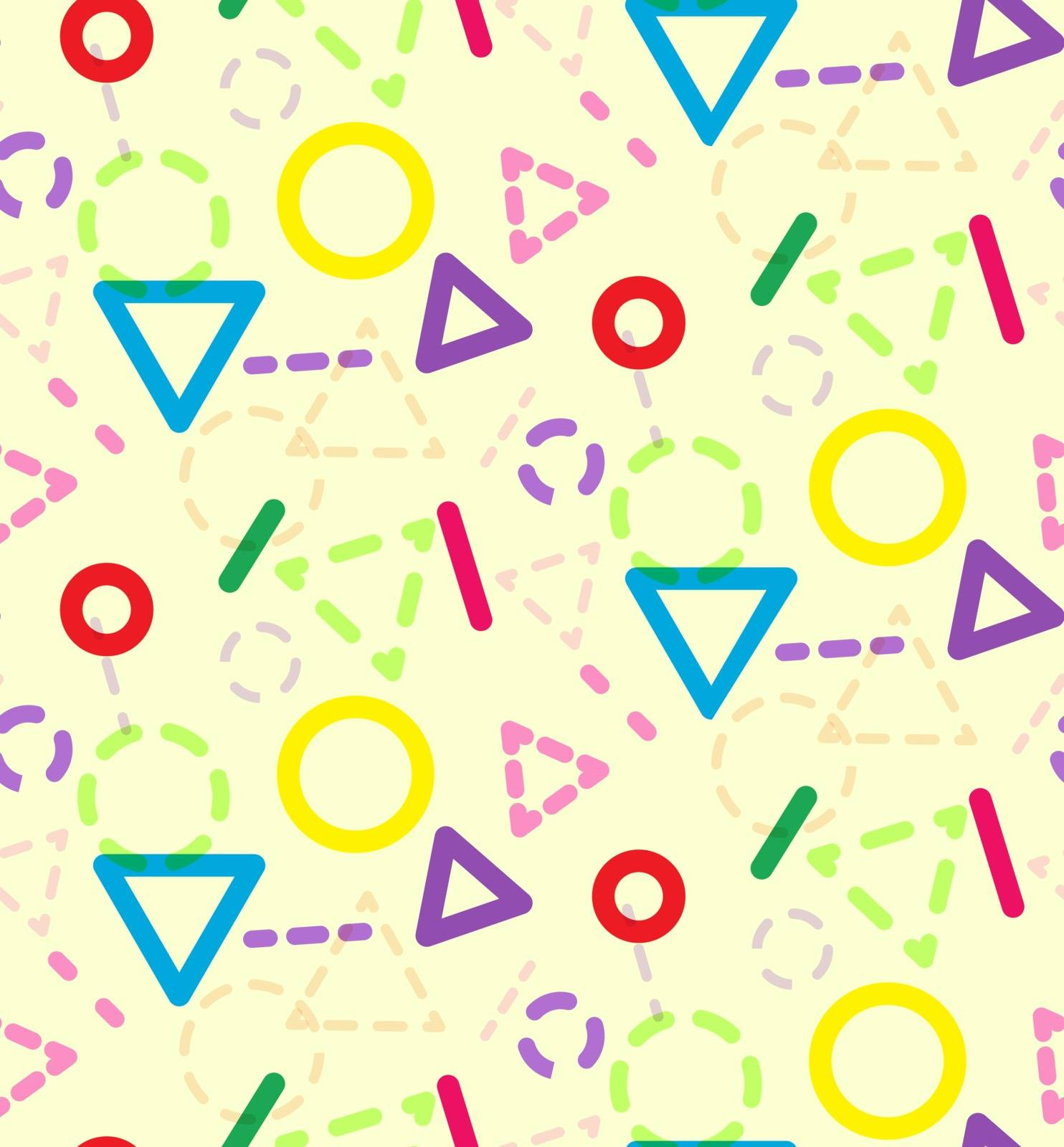 Abstract color geometric kids pattern, bright texture with simple geometric elements