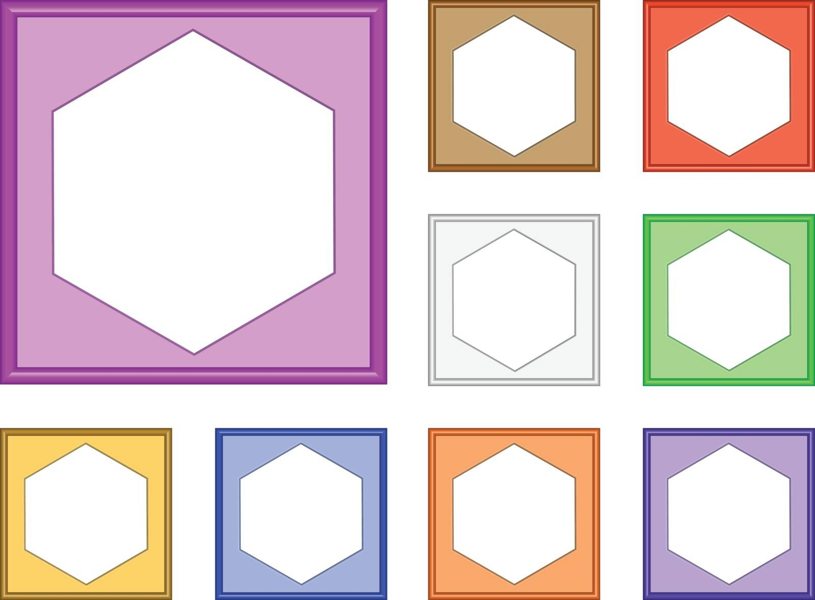 colorful modern style of square frame with hexagon inside for collect picture, gallery, 3d vector