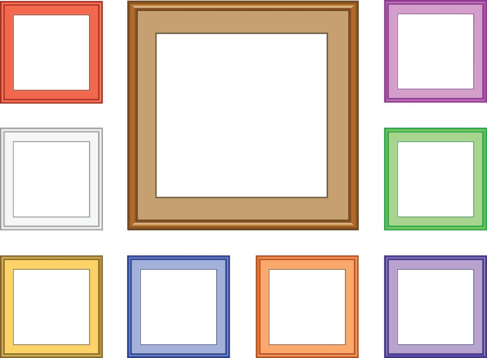 9 colorful square frames for collection image, picture, gallery or for web design