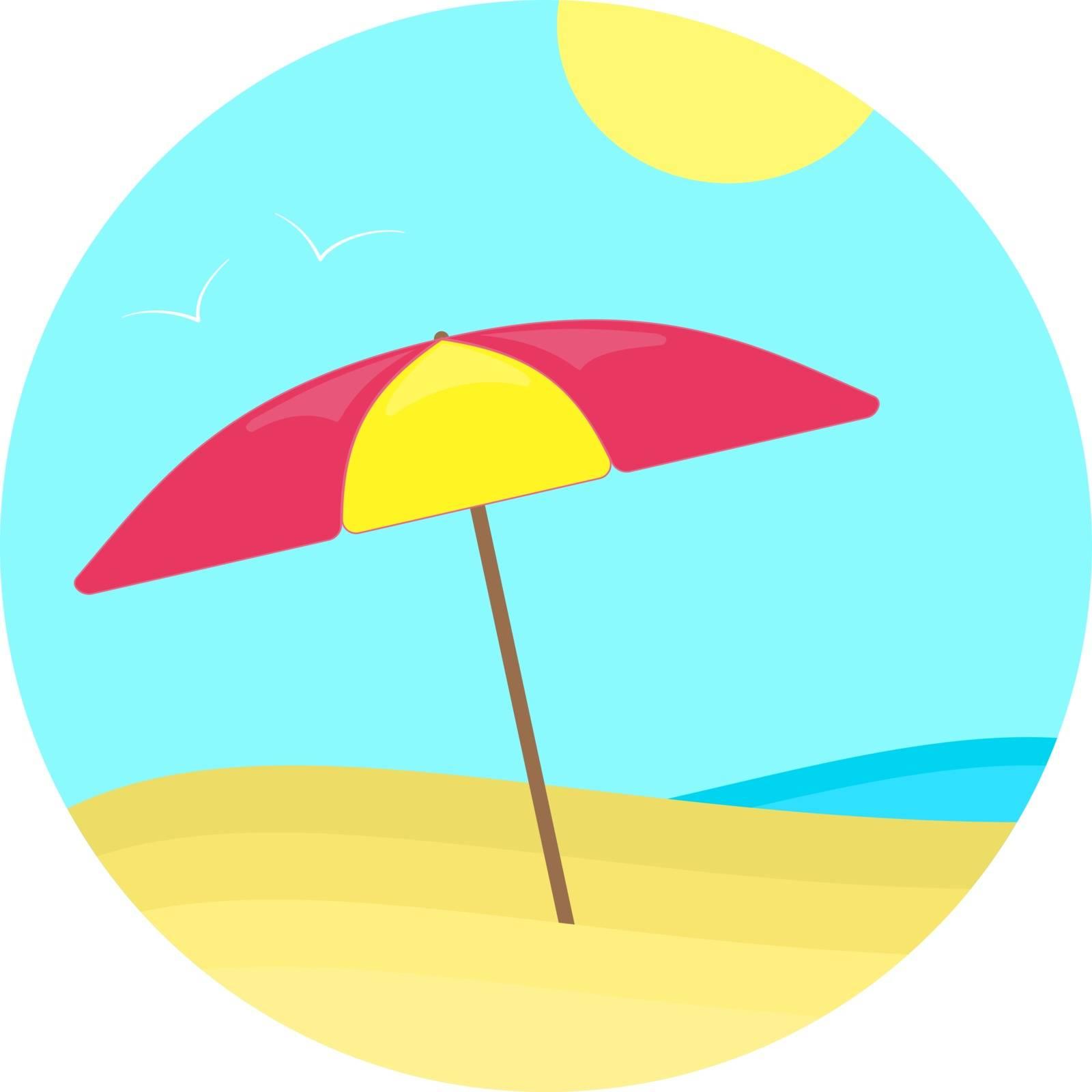 Colorful flat summer sun umbrella on the sea beach