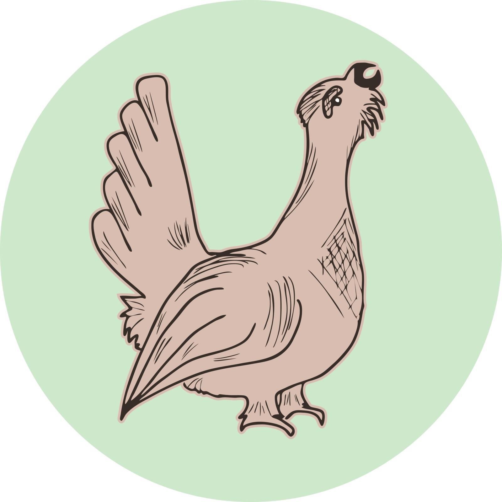 Hand drawn brown capercaillie icon, bird silhouette