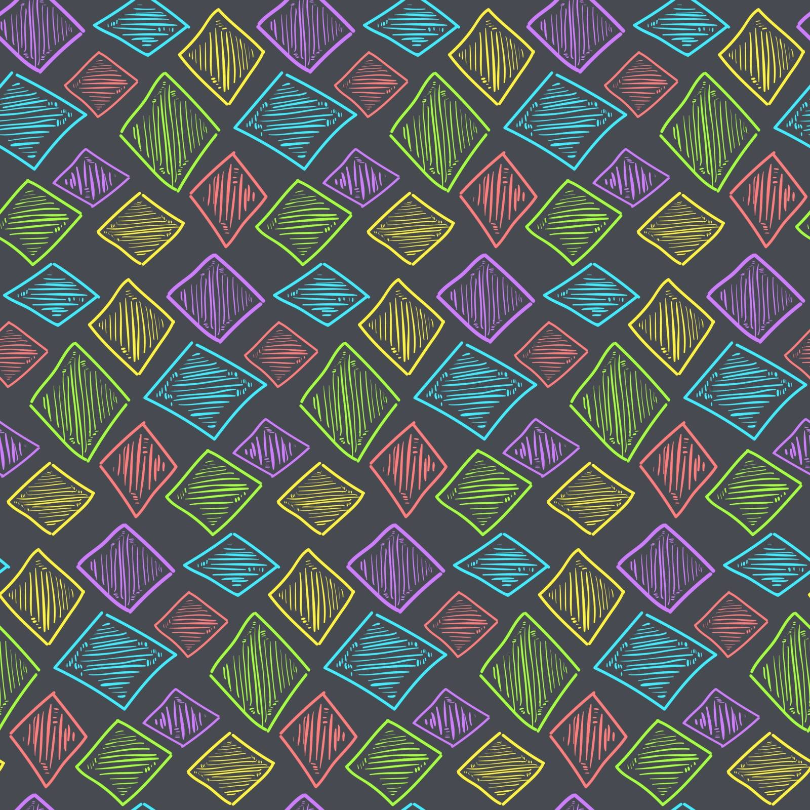 Seamless pattern with cute hand drawn colorful textured rhombus, grunge bright night rhomb texture