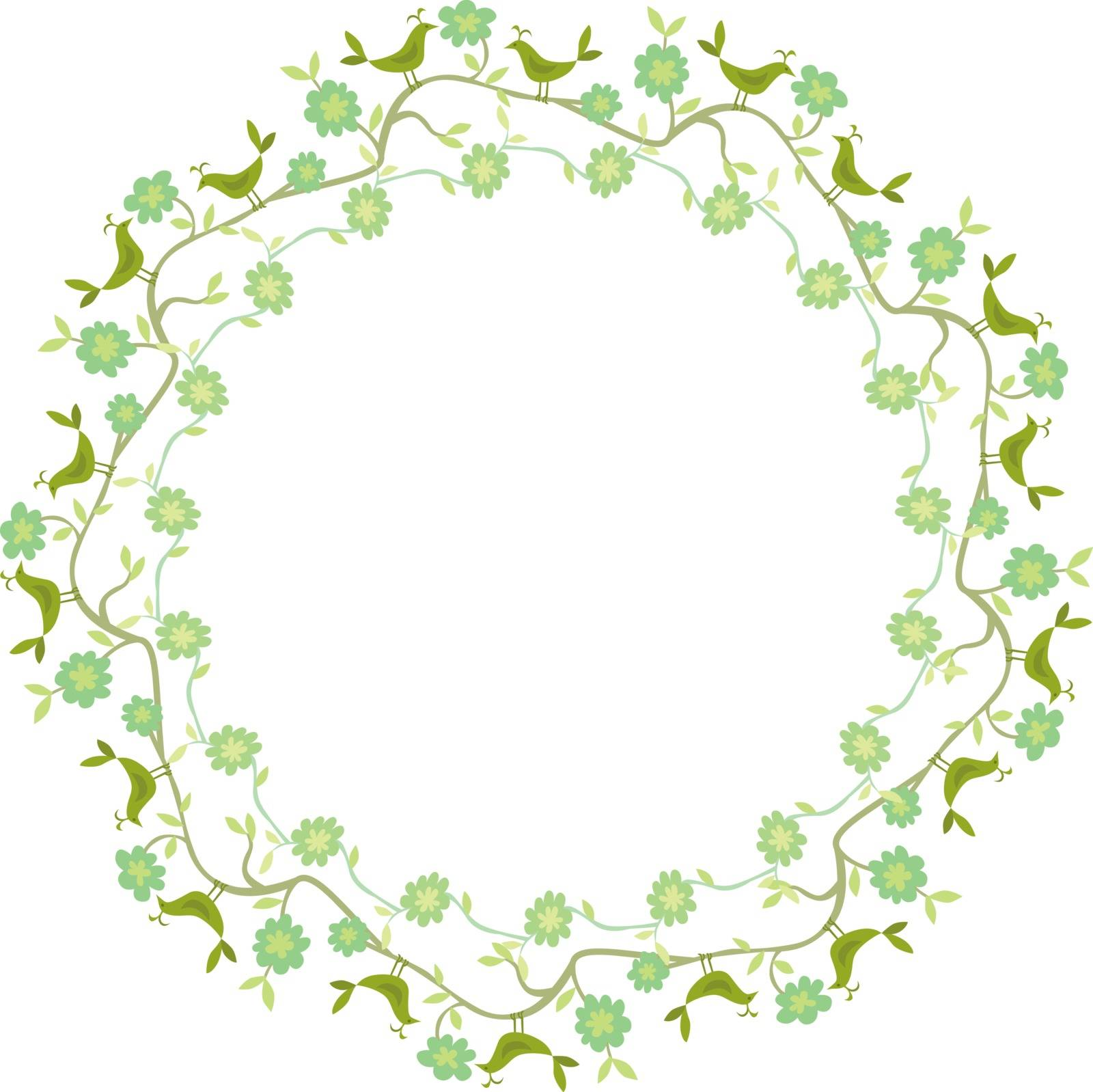 Decorative illustrated circle frame made of flowers and birds