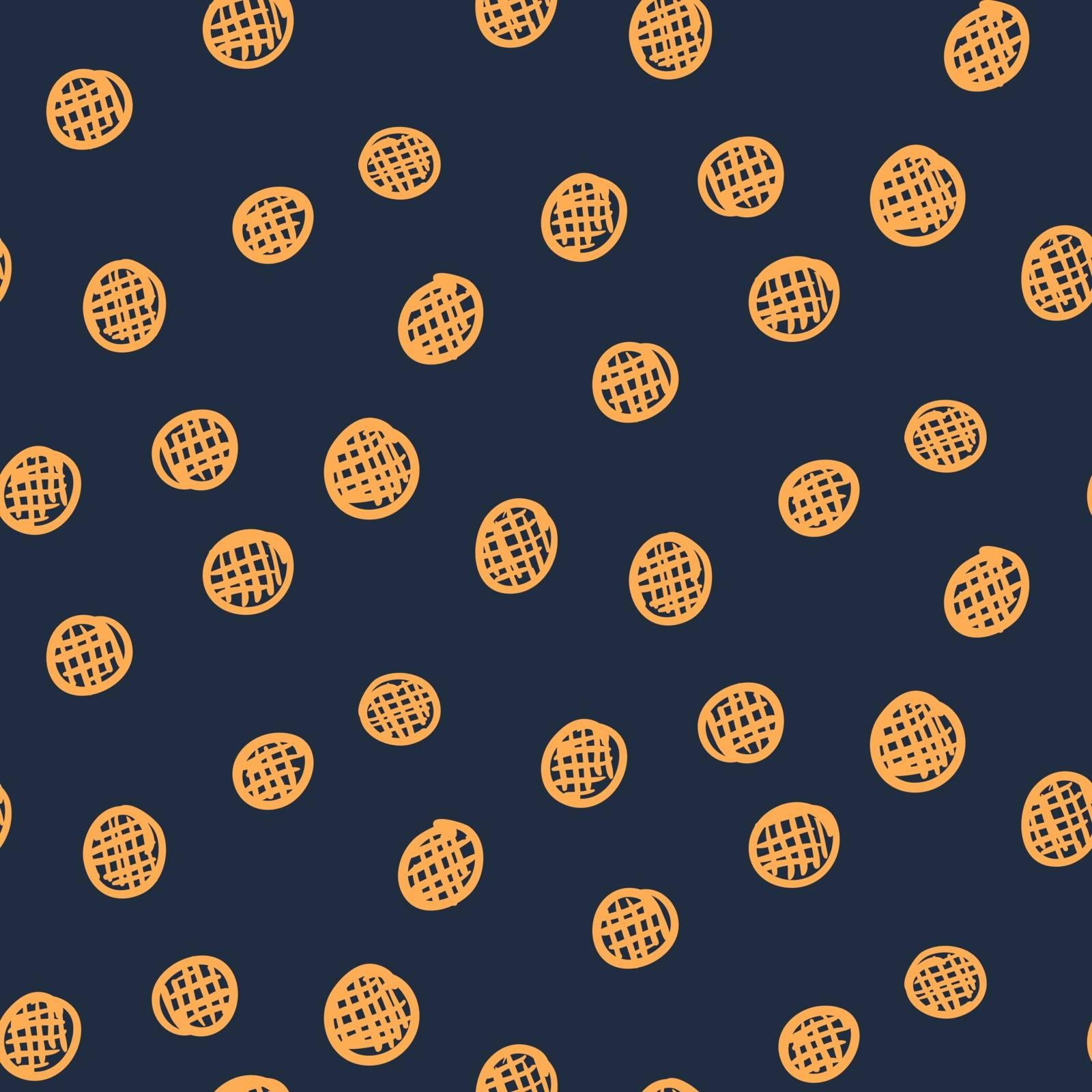 Dark abstract seamless pattern with orange circles