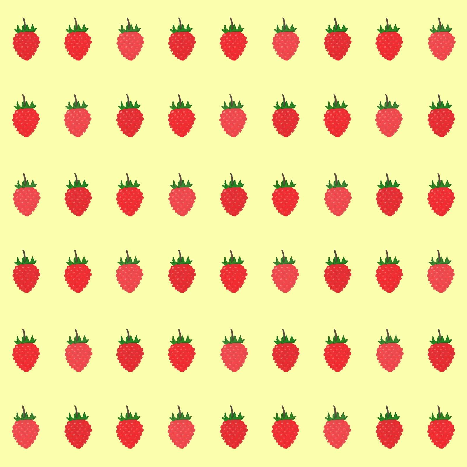 Seamless pattern with fresh red raspberry, grid berry texture