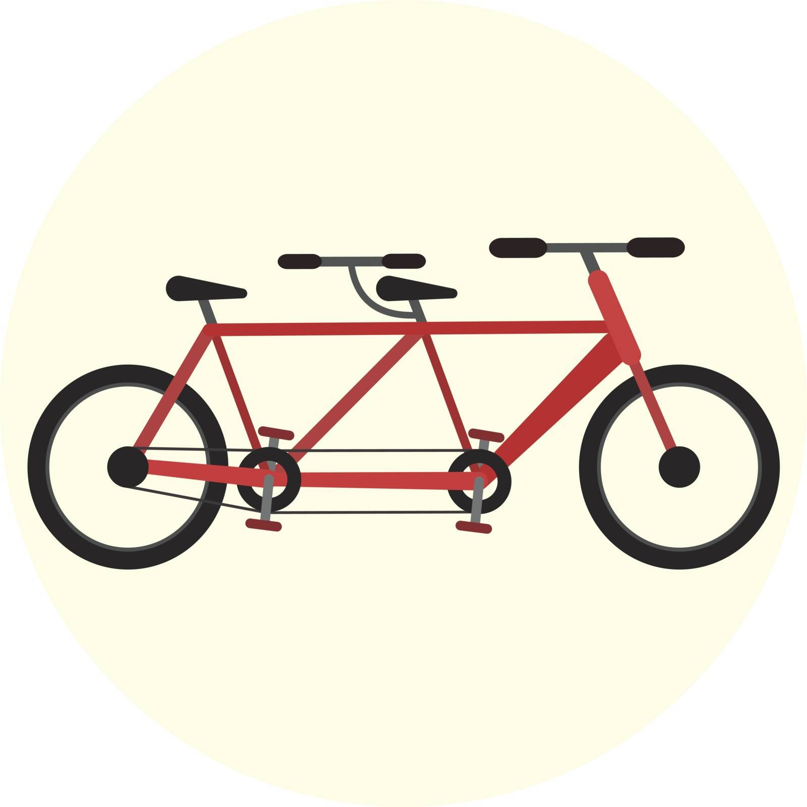 Flat vector red tandem bike icon, bicycle for couple, ecological city transport