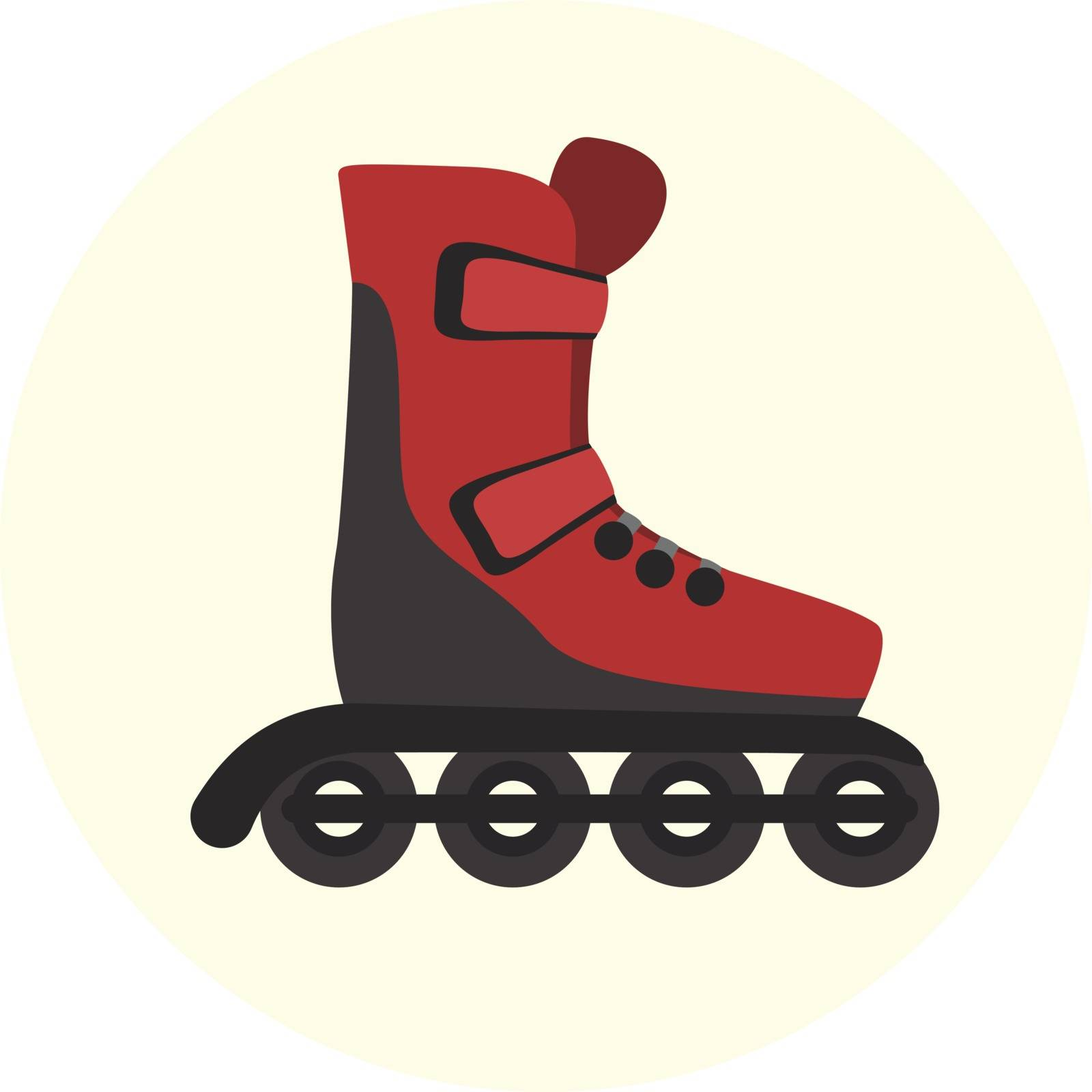 Flat red modern four wheels skate rollers icon, rollerskating symbol, ecological city transport