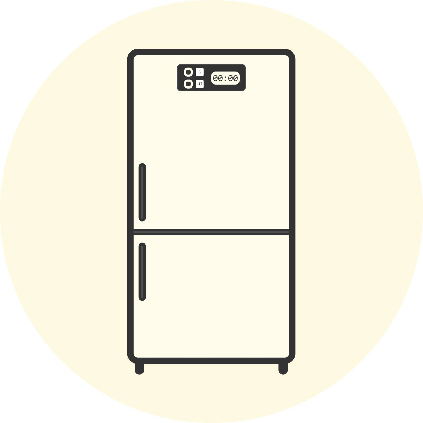 Flat white refrigerator icon, appliance vector symbol, kitchen equipment