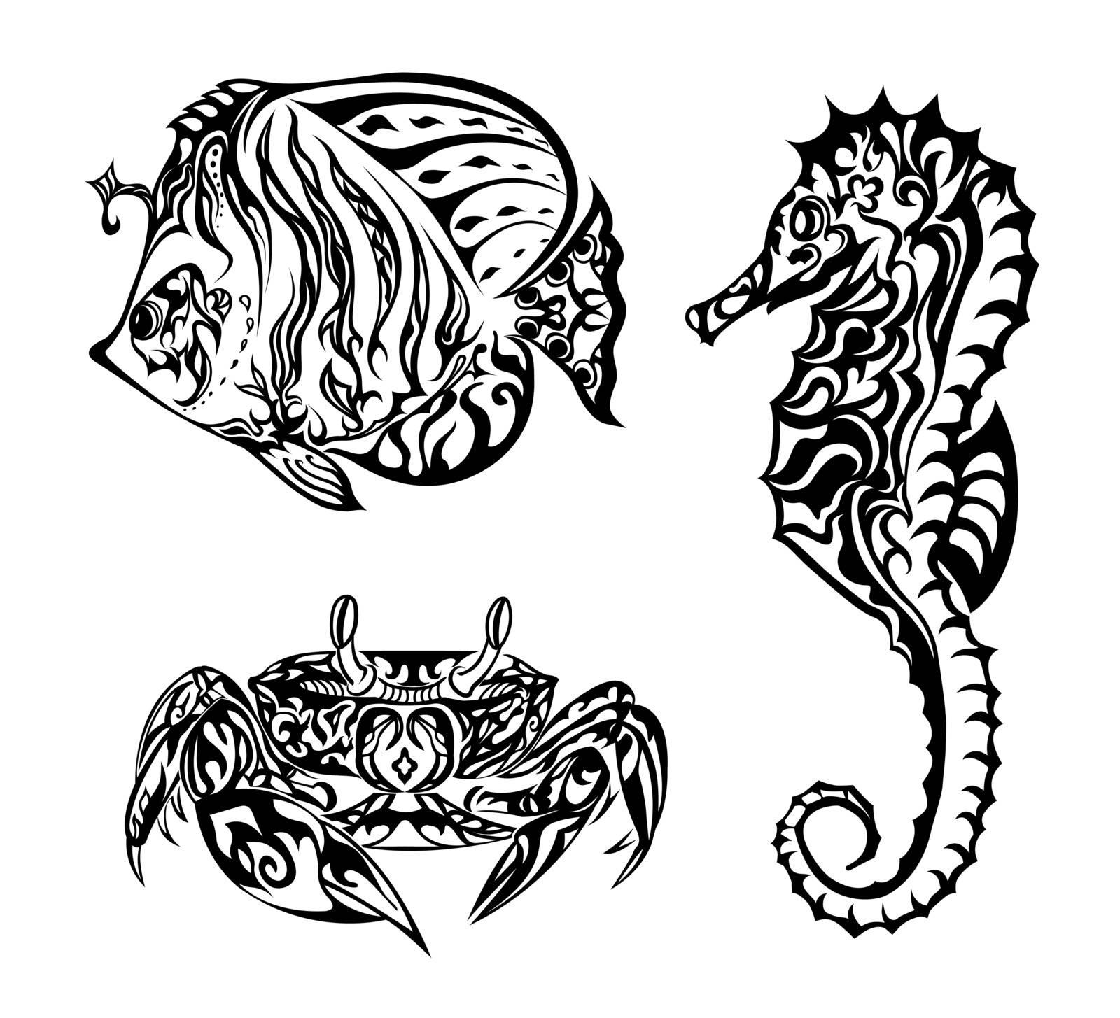 Black and white marine life based in doodling style