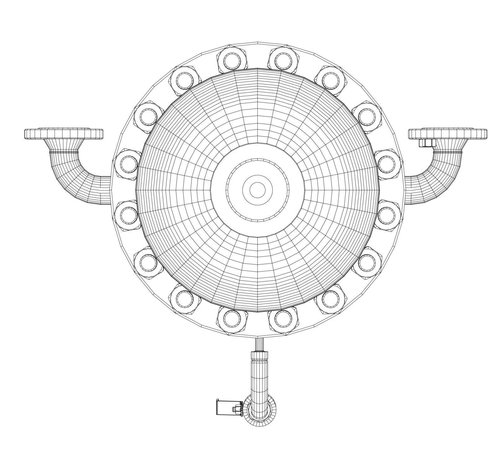 Wire-frame industrial equipment. EPS 10 vector format. Vector rendering of 3d