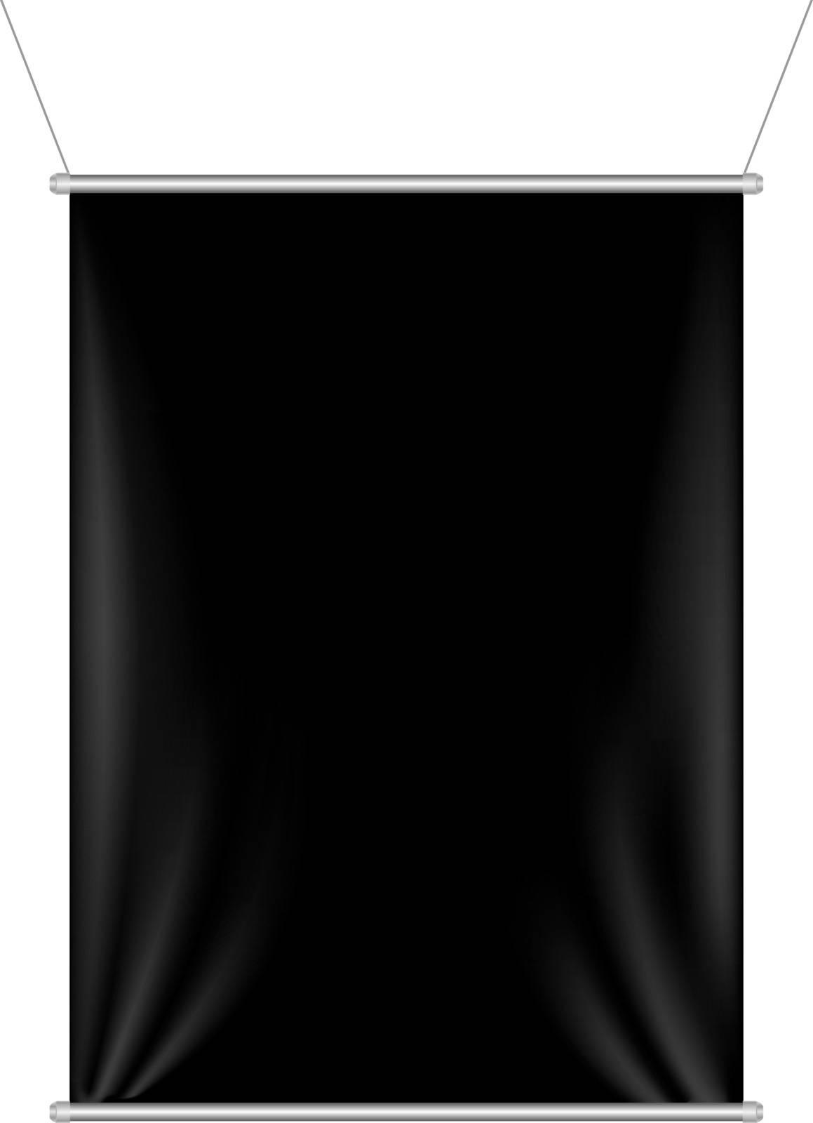 Black Banner With Gradient Mesh, Vector Illustration