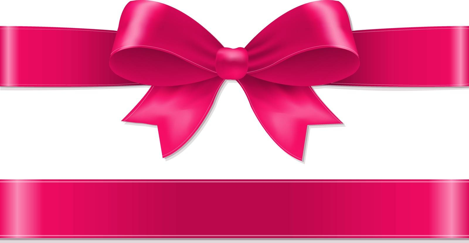 Pink Bow With Gradient Mesh, Vector Illustration