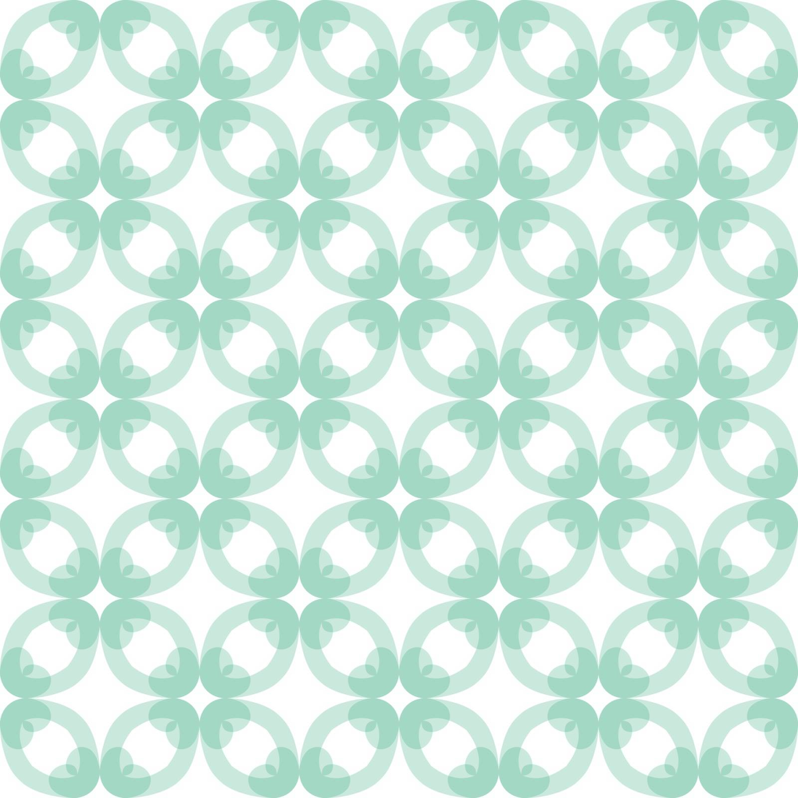 Seamless illustrated pattern made of abstract turquoise elements on white