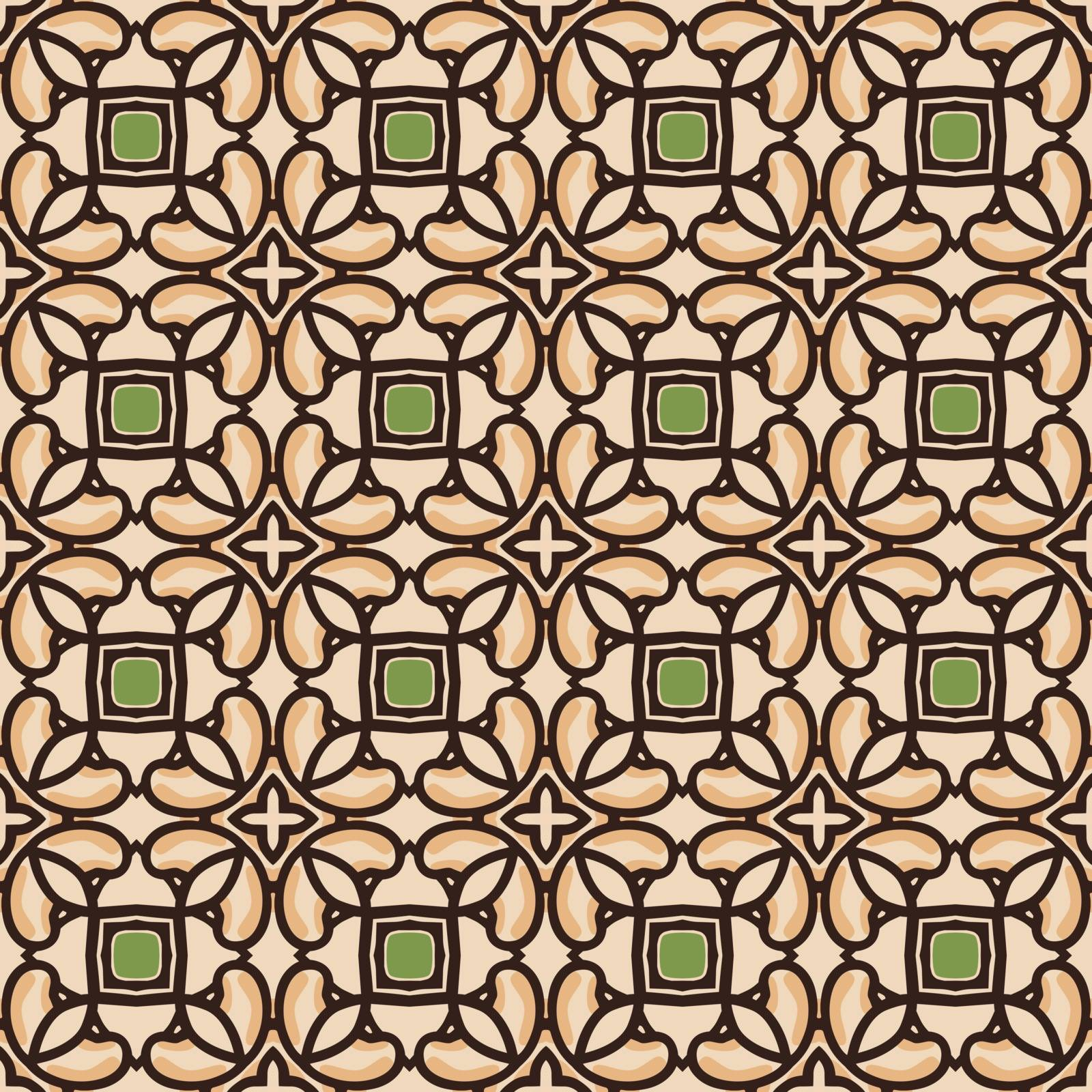 Seamless illustrated pattern made of abstract elements in beige, orange, green and black