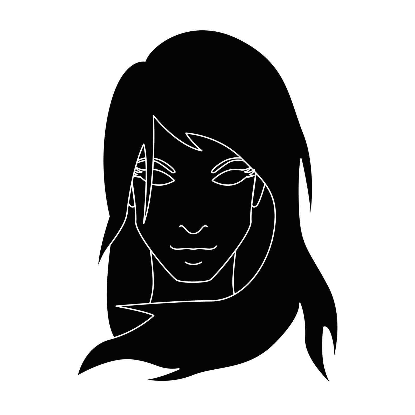Simple flat black virgo icon vector
