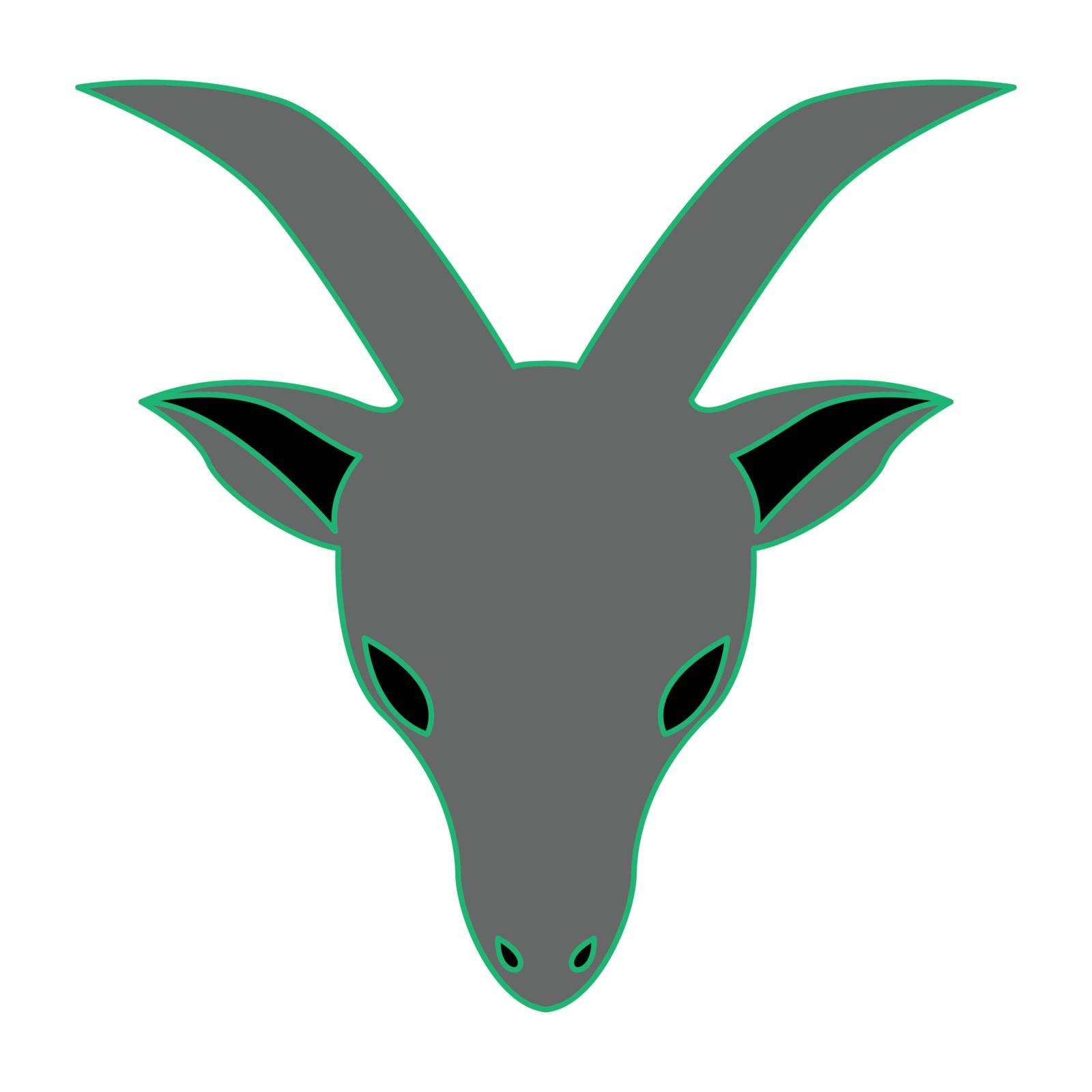 Simple flat color capricorn icon vector