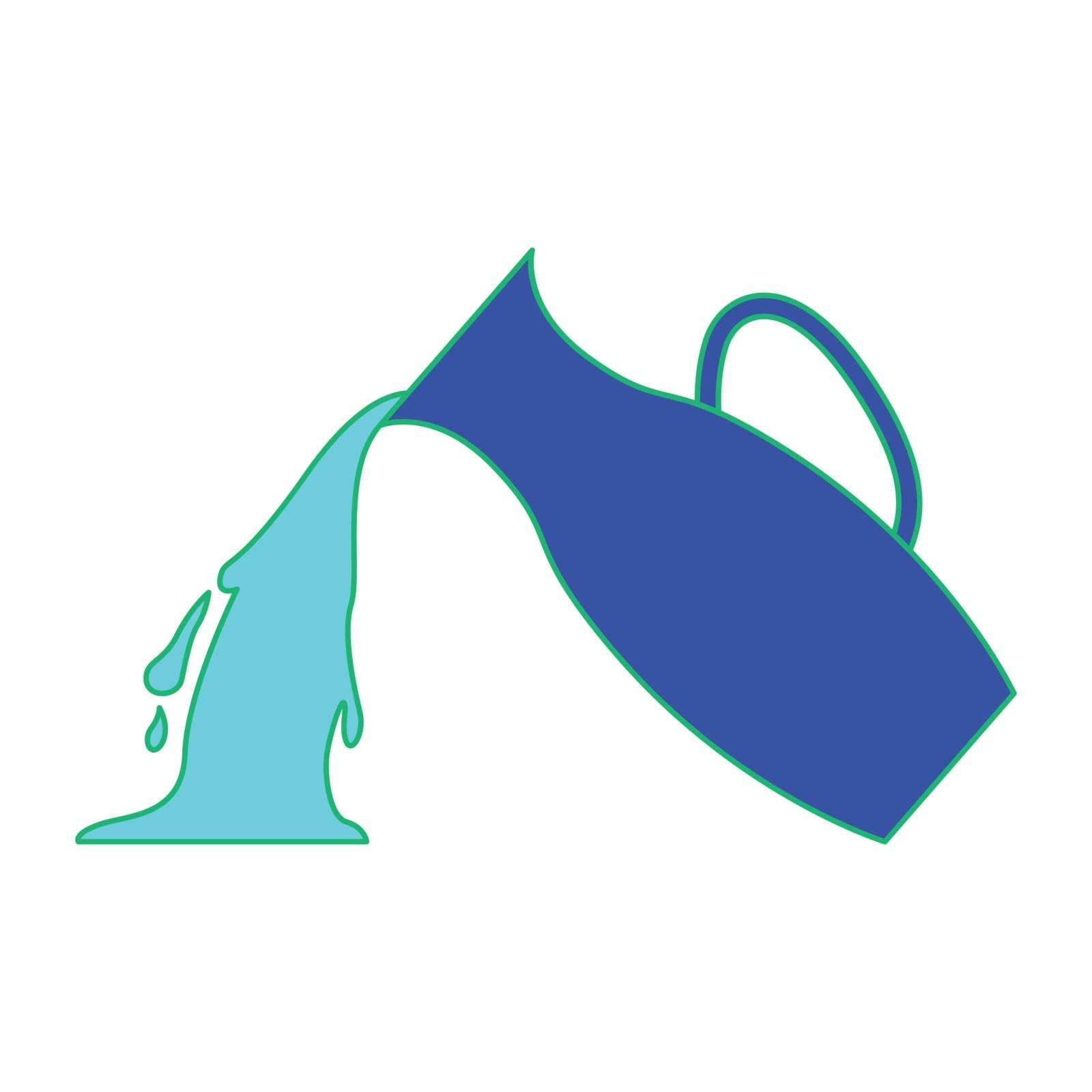 Simple flat color aquarius icon vector