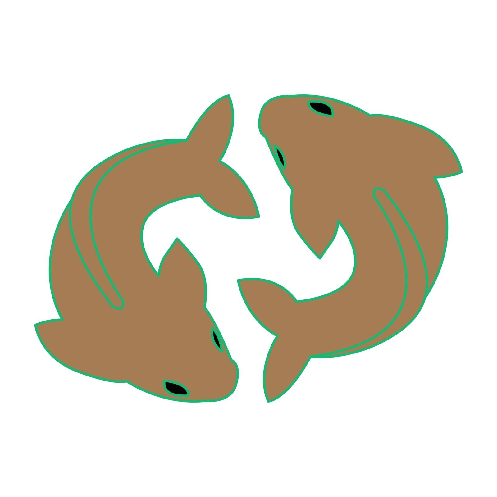Simple flat color pisces icon vector