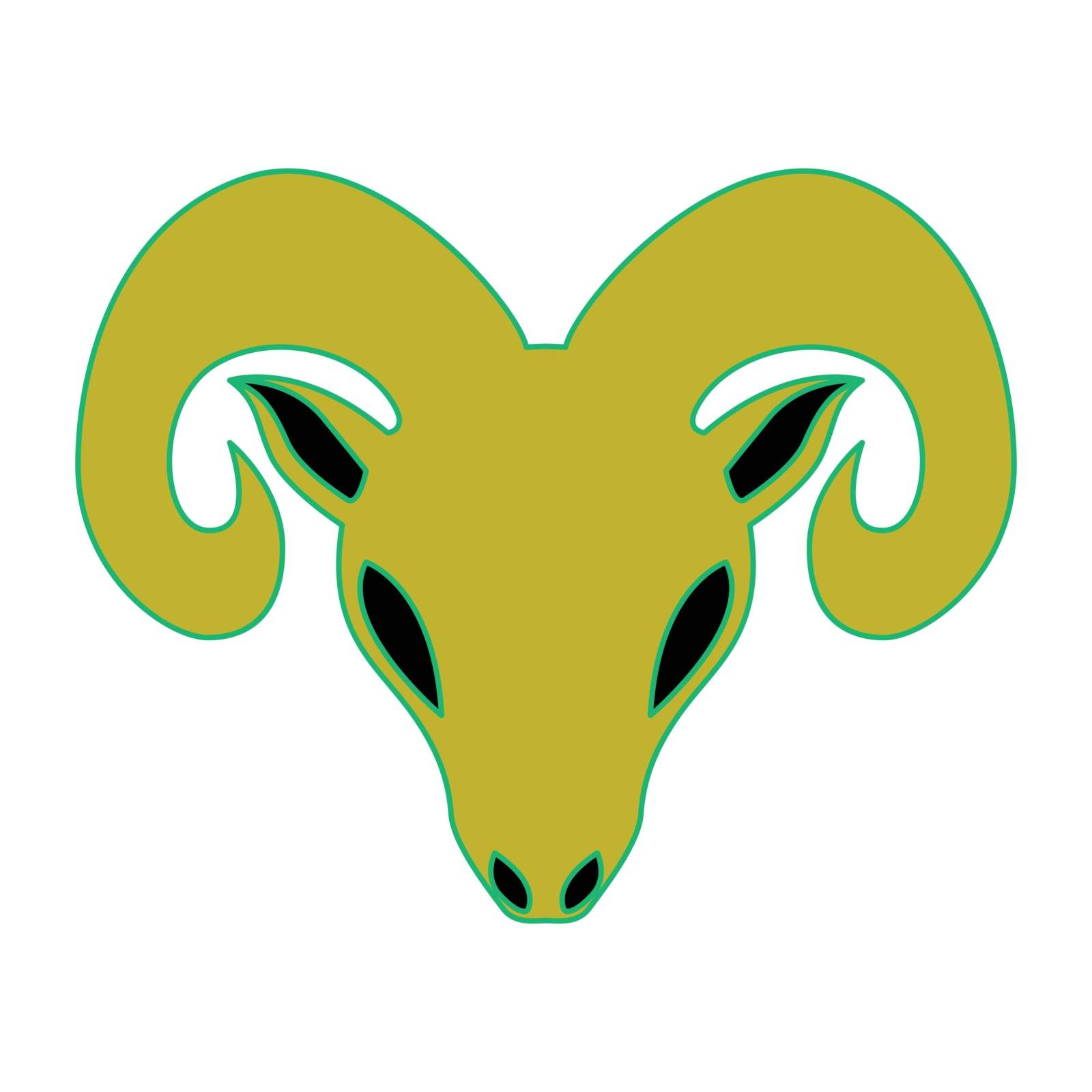 Simple flat color aries icon vector