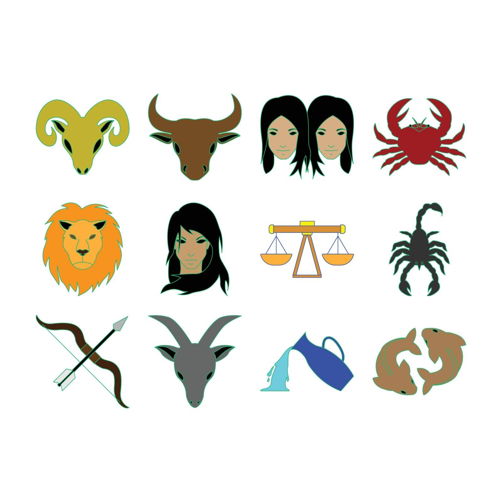 Collection of horoscope icon vector