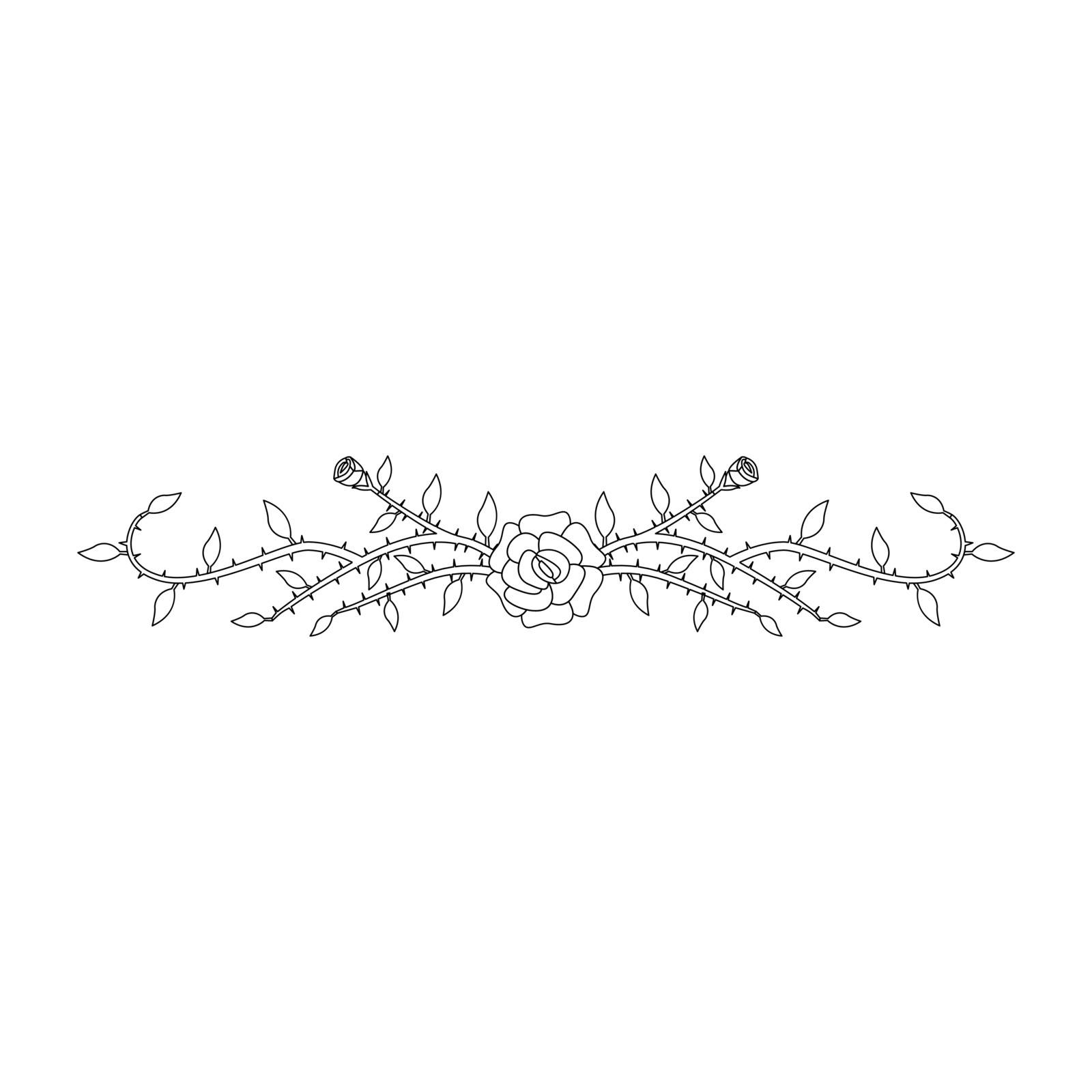 Simple thin line rose ornament icon vector