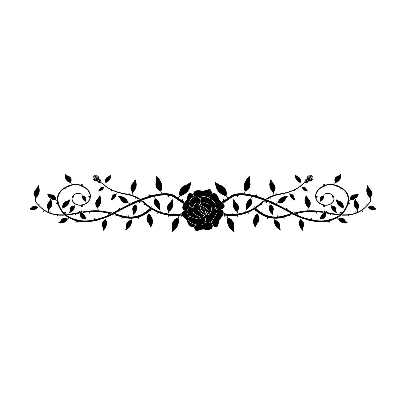 Simple flat black rose ornament icon vector