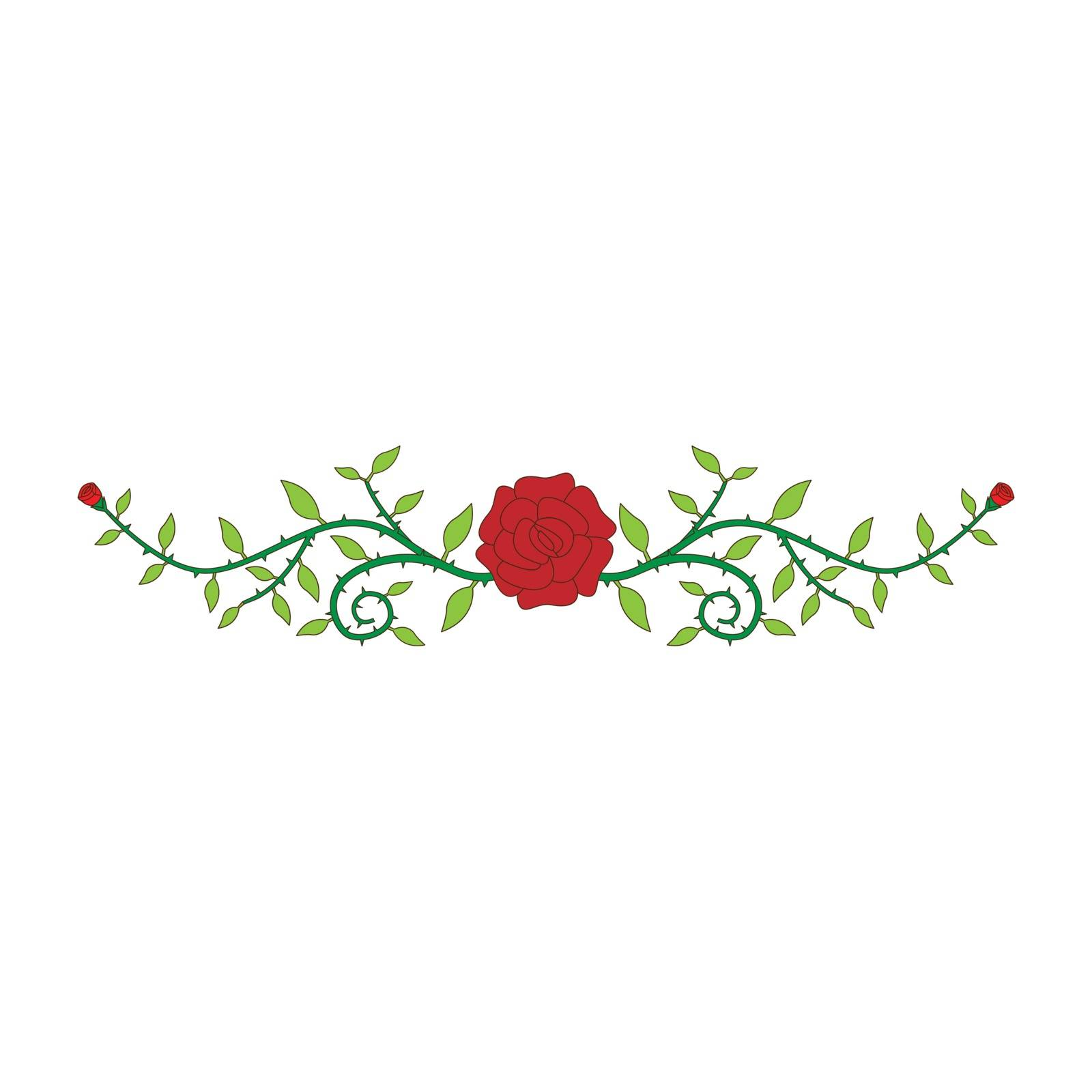 Simple flat color rose ornament icon vector