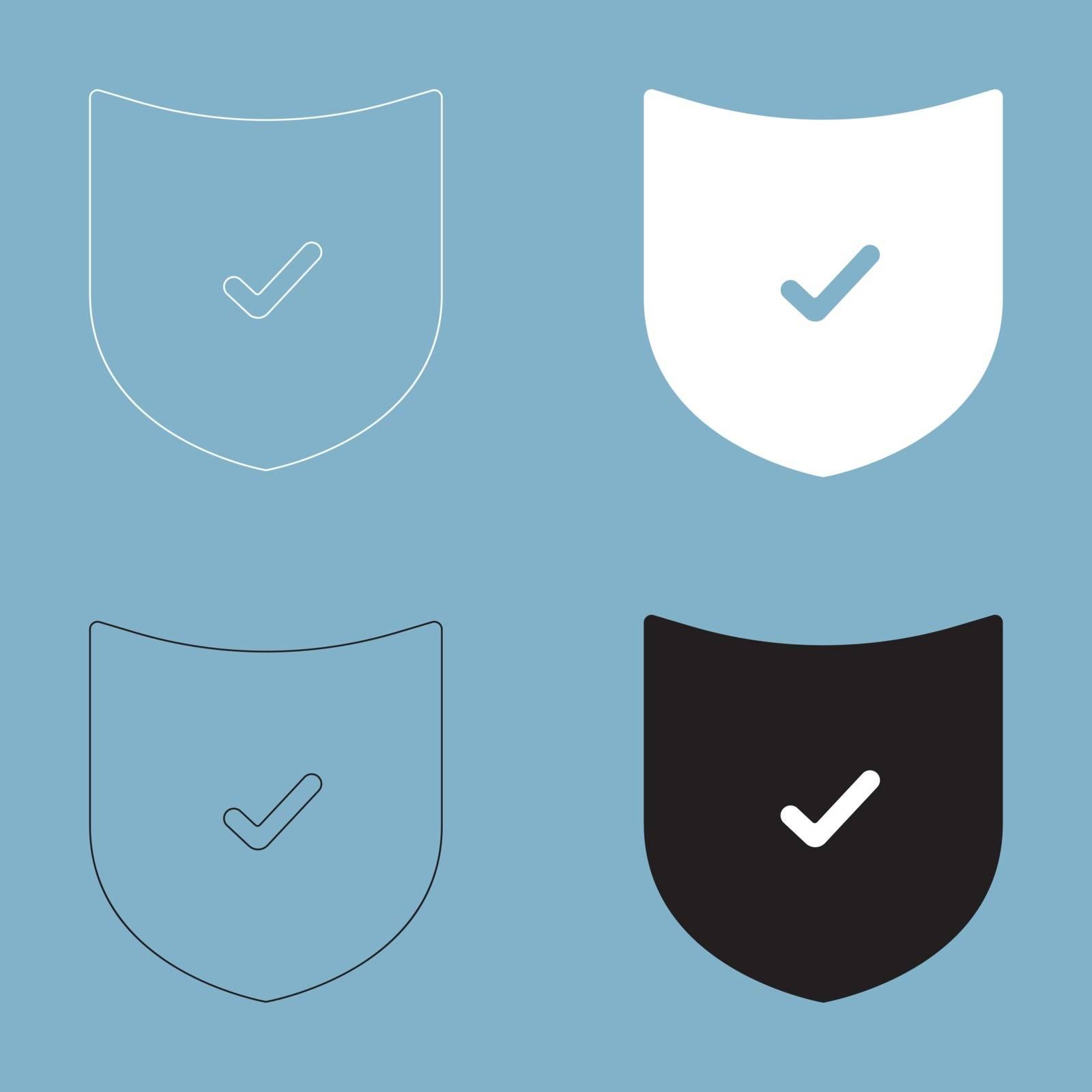 Shield the black and white color icon .