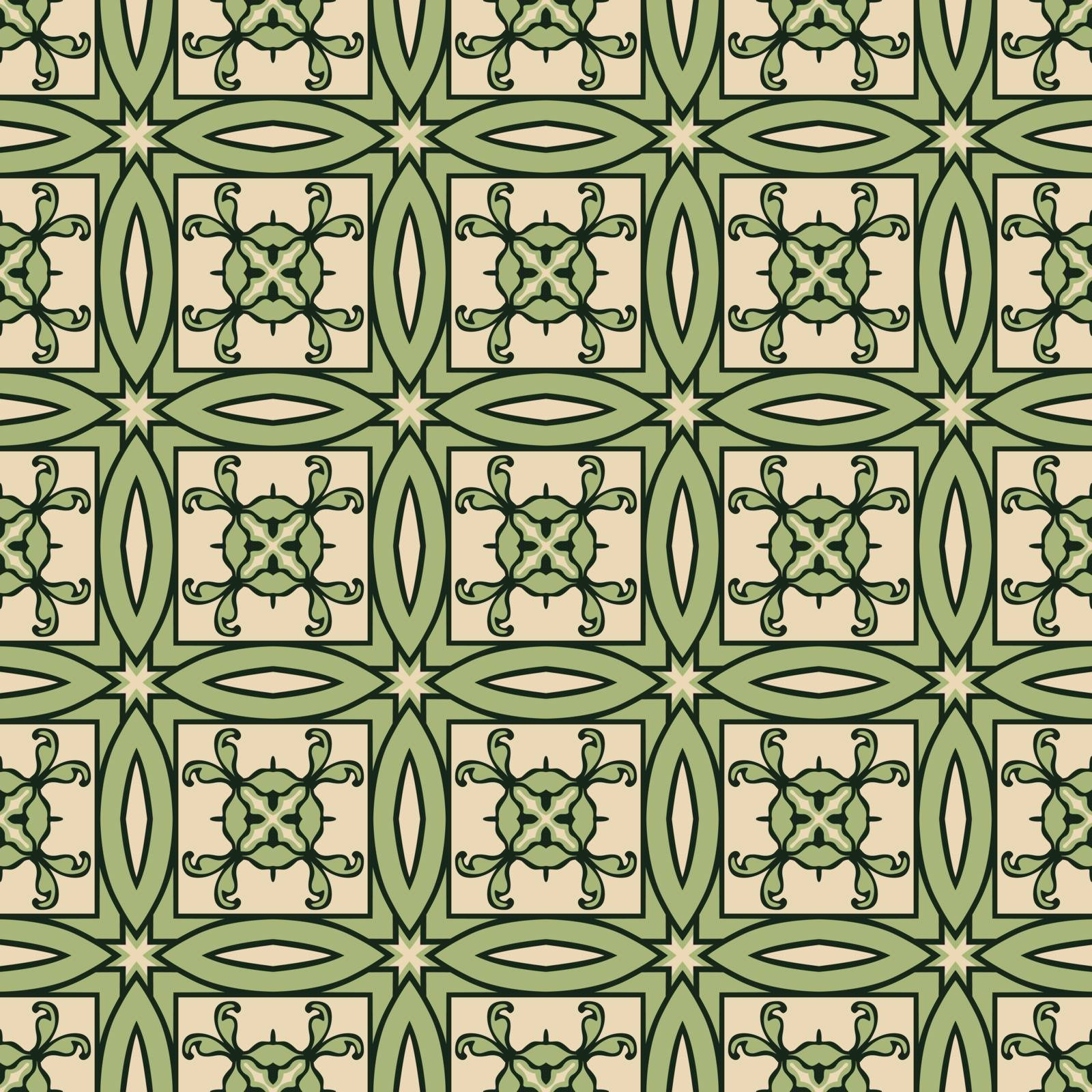 Seamless illustrated pattern made of abstract elements in beige, green and black