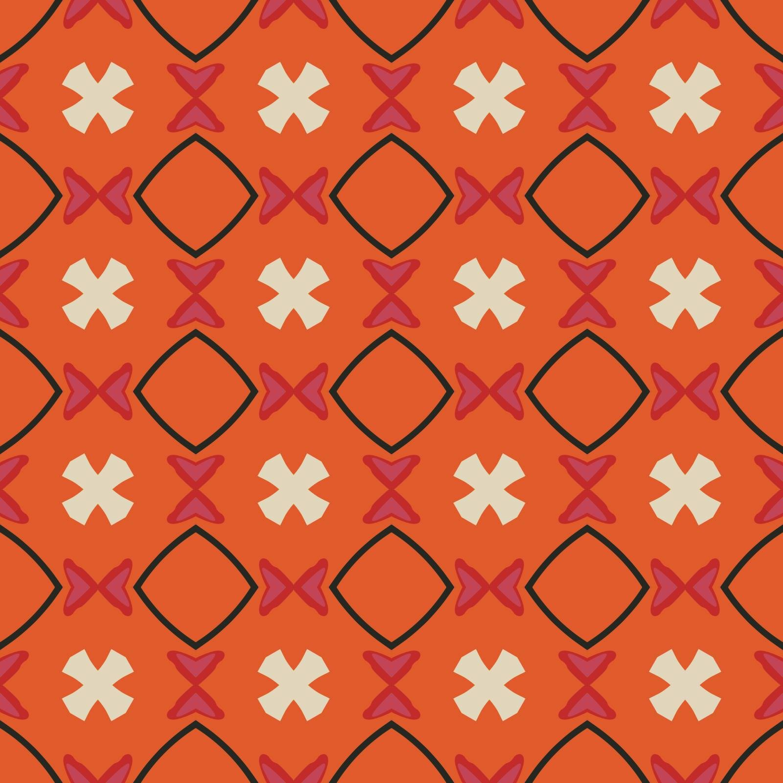 Seamless illustrated pattern made of abstract elements in beige,pink, orange and black